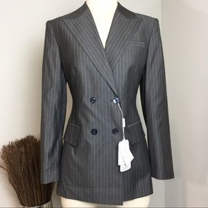 Laurèl By Escada Double Breasted Pinstripe Blazer